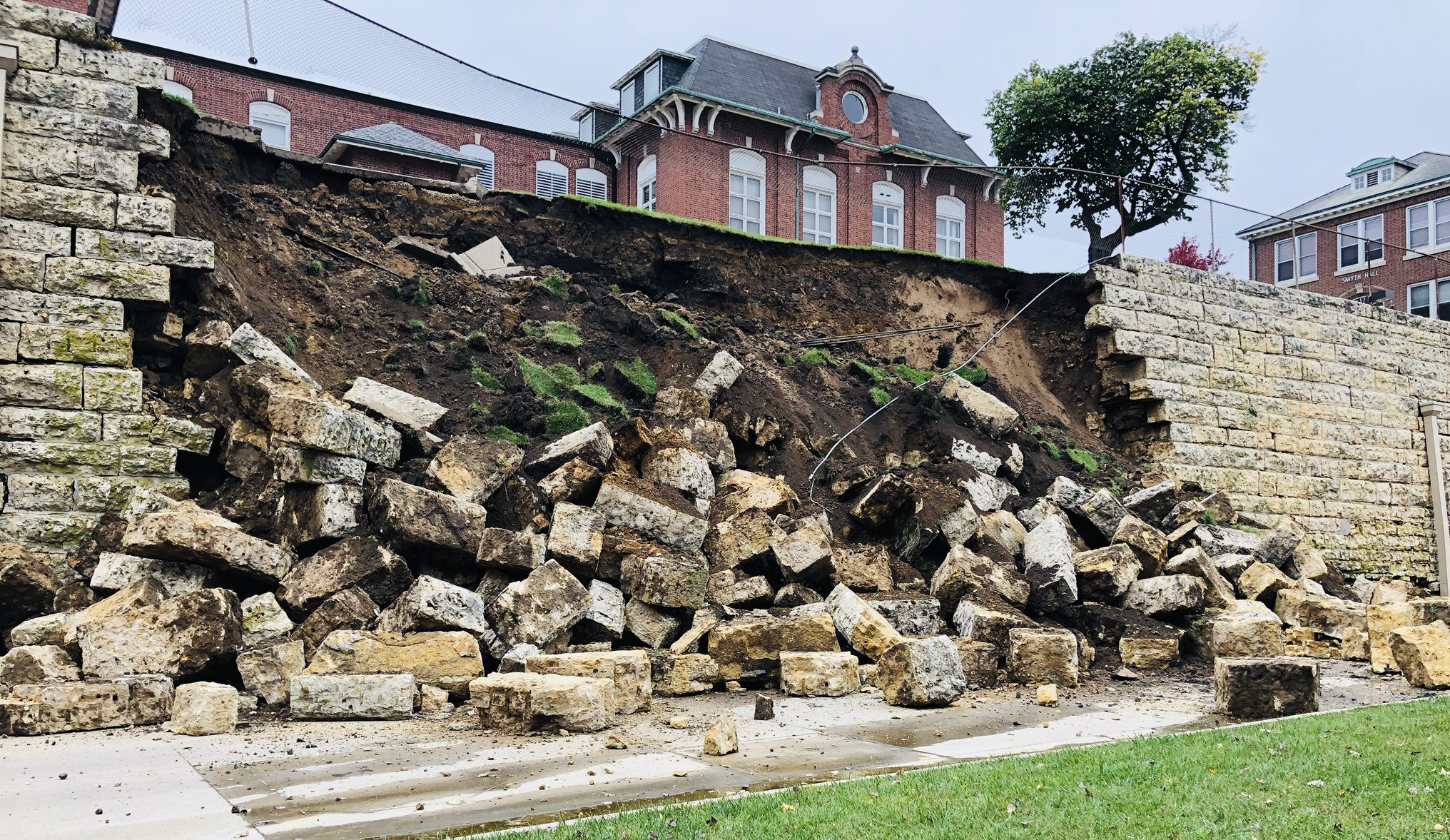 Image result for loras college wall collapse